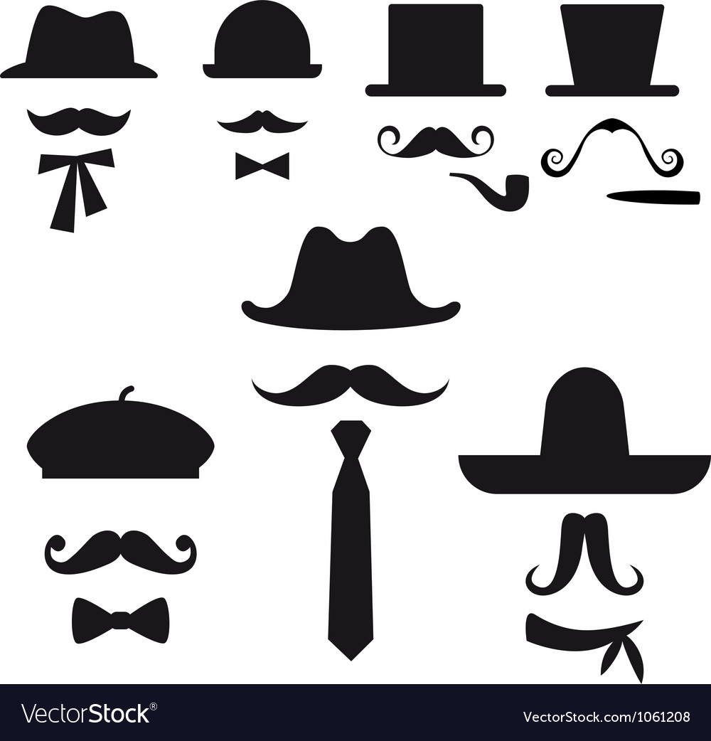 Mustache and hats set