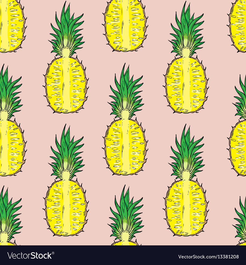 Pattern cut pineapple on a pink background