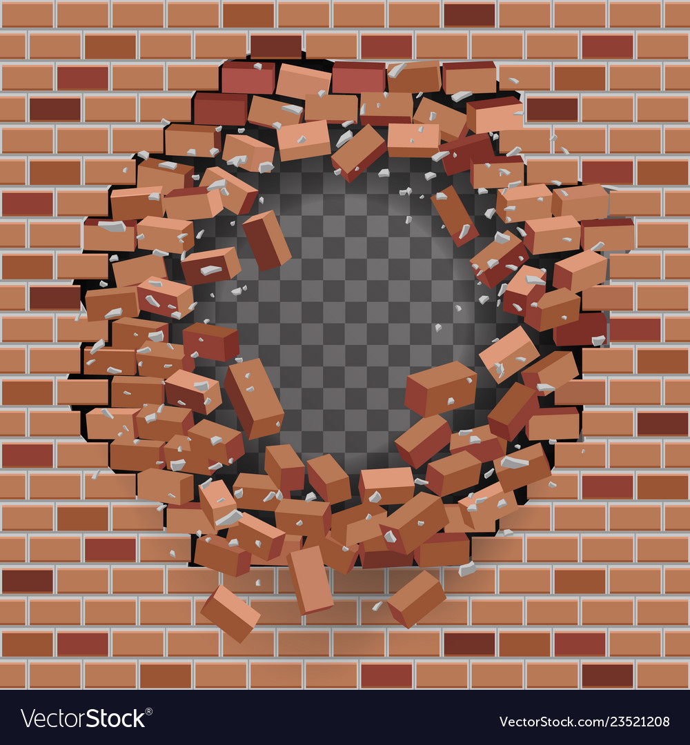Red brick break wal hole destructionl template