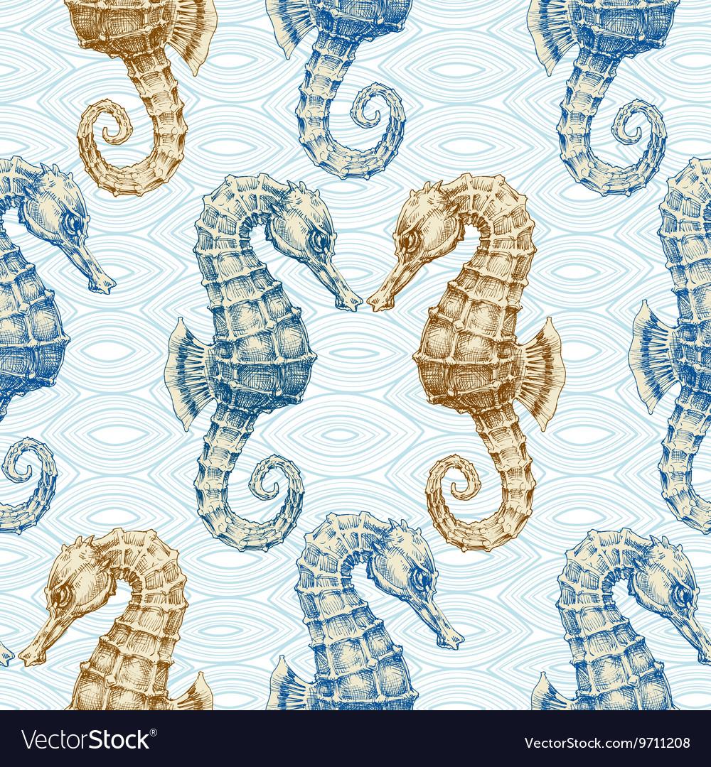 Sea horse seamless pattern Marine life print