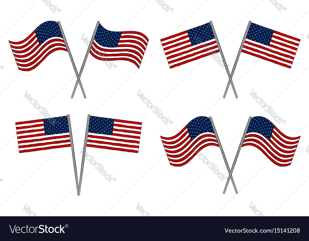 Set of two usa flags vector image