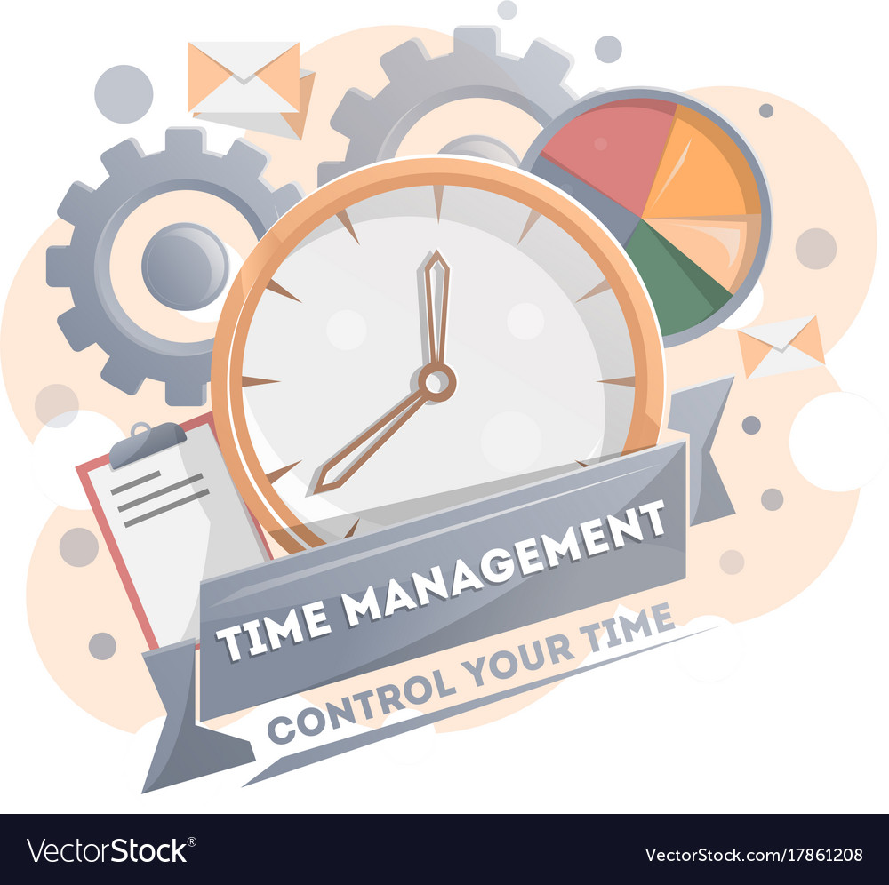 Time Management Poster With Clock Royalty Free Vector Image