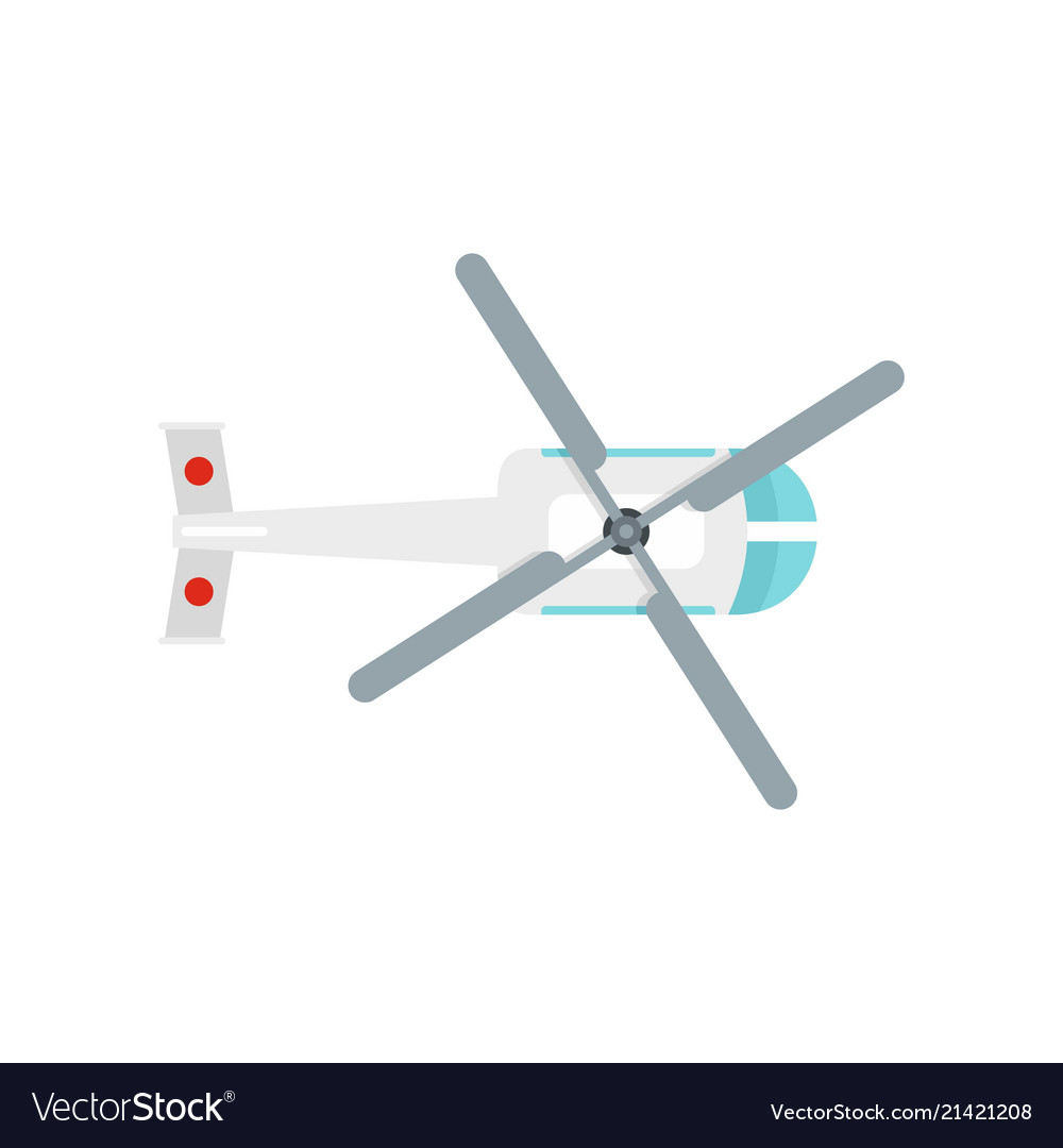 Top view helicopter icon flat style