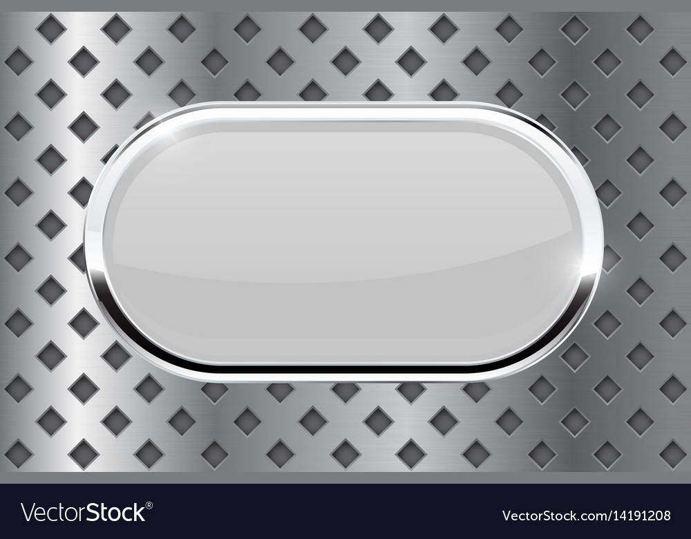 White oval button with chrome frame on metal vector image