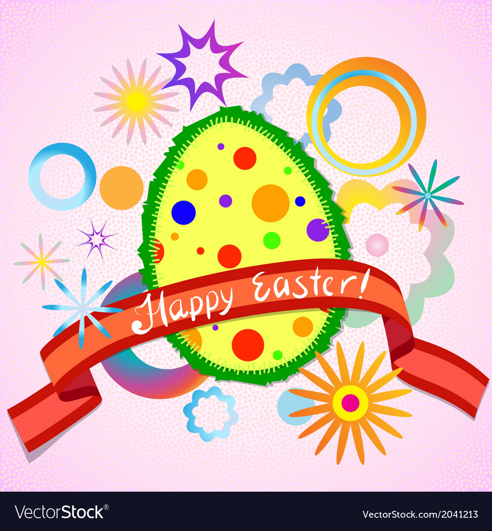 Abstract colorful easter egg and ribbon