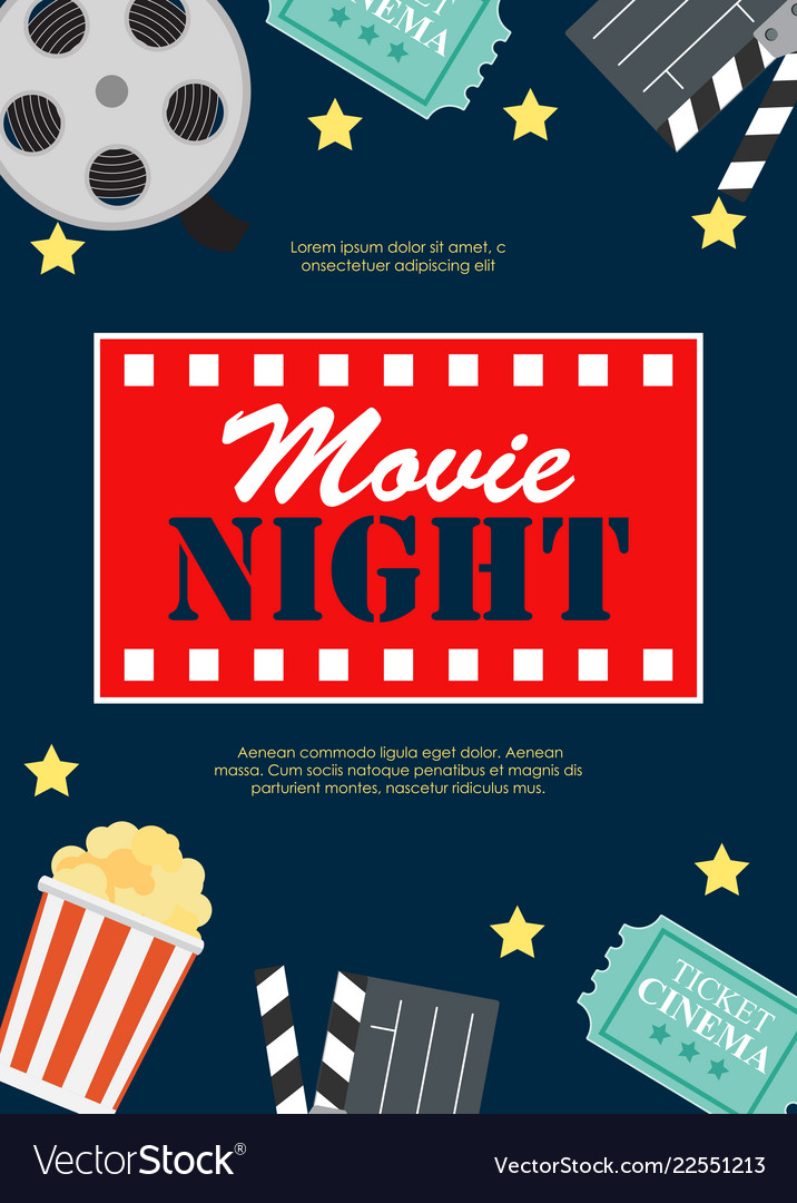 Abstract movie night cinema flat background with
