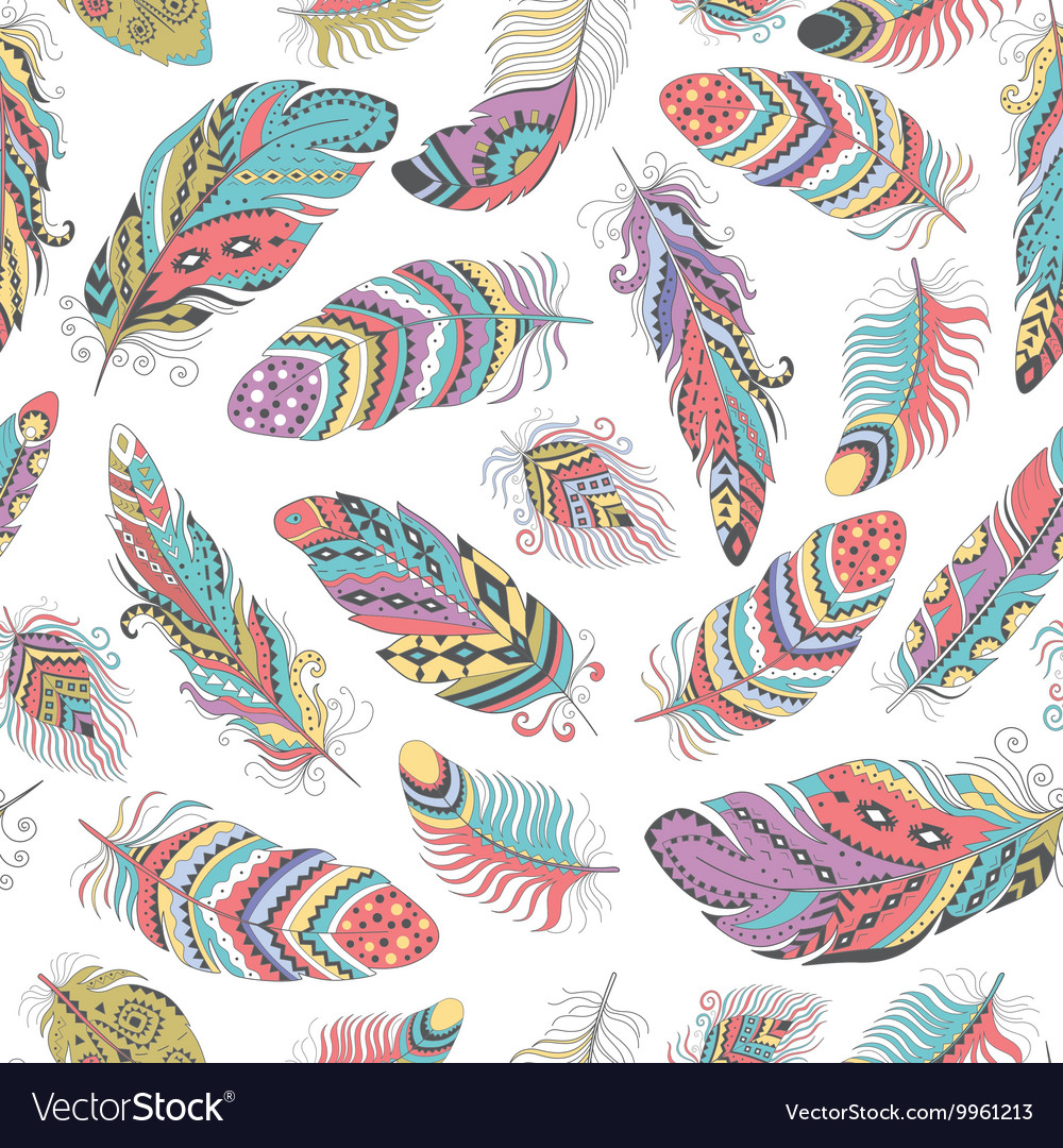 Feathers Boho Seamless Pattern