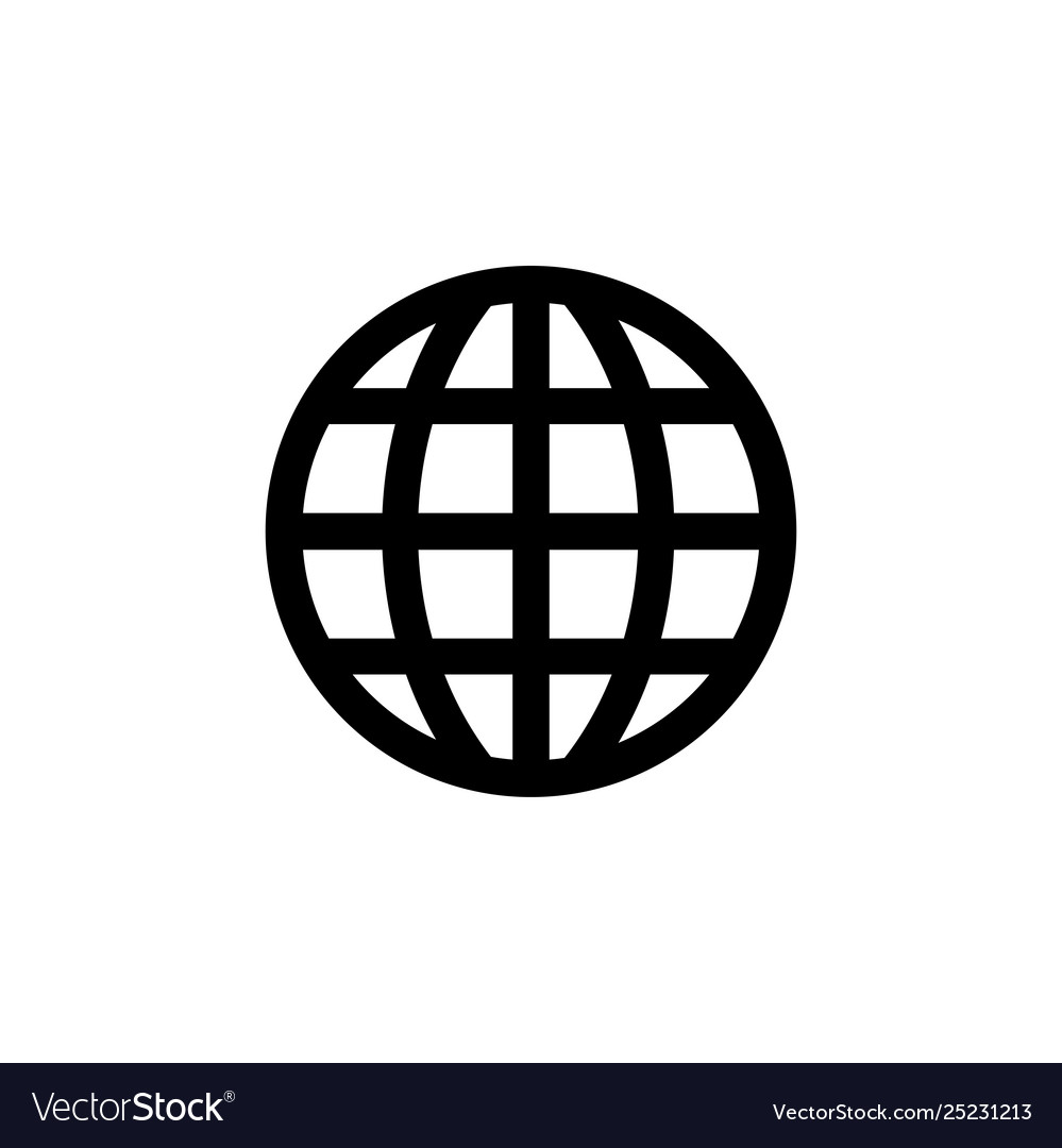Globe icon in flat style for app ui websites