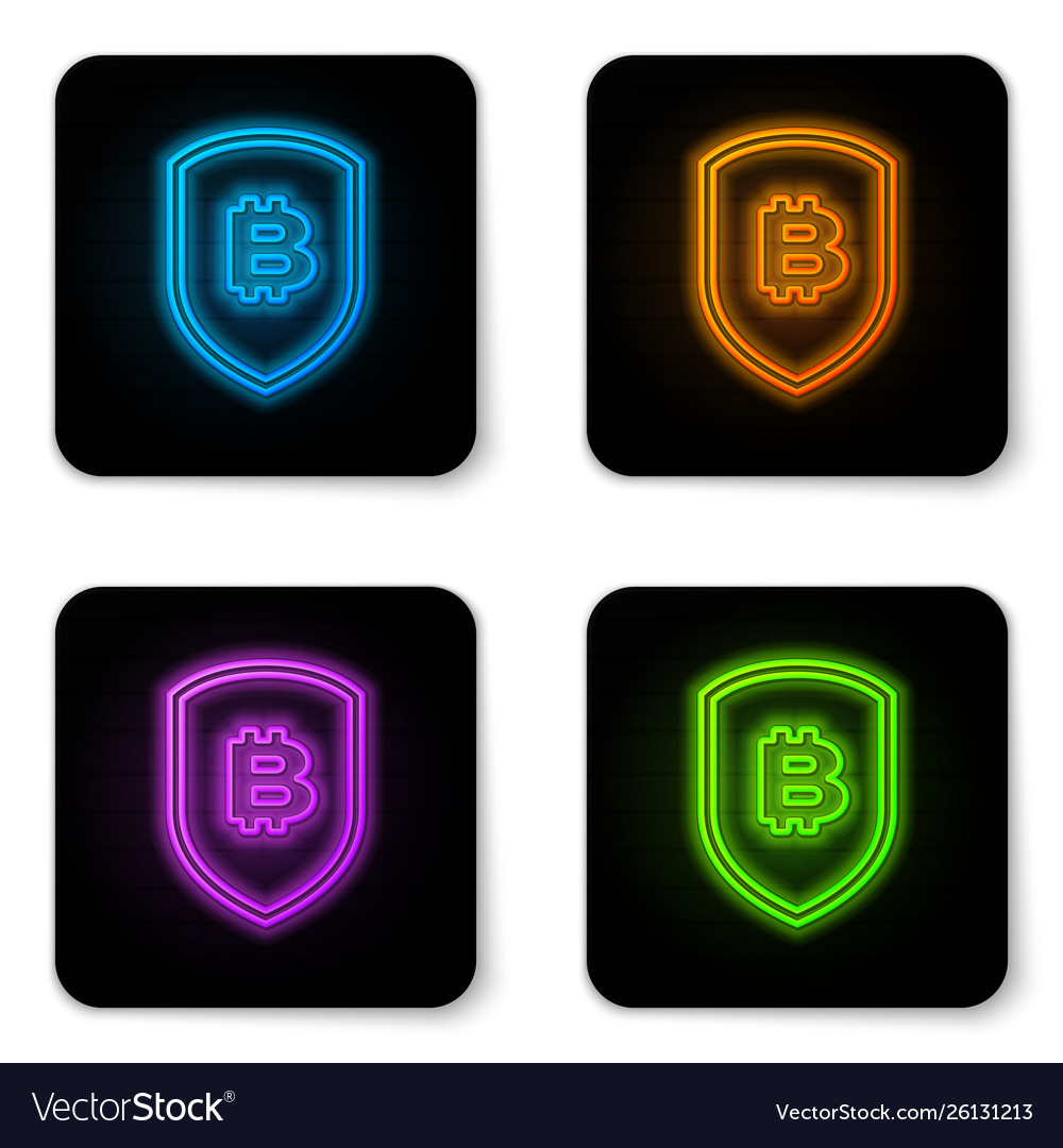 Glowing neon shield with bitcoin icon isolated on