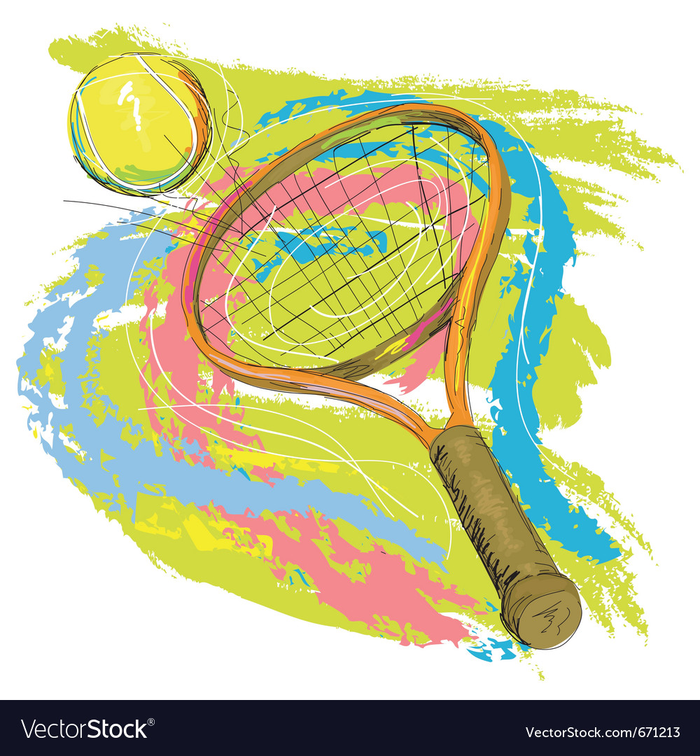 Hand drawn of tennis racket vector image