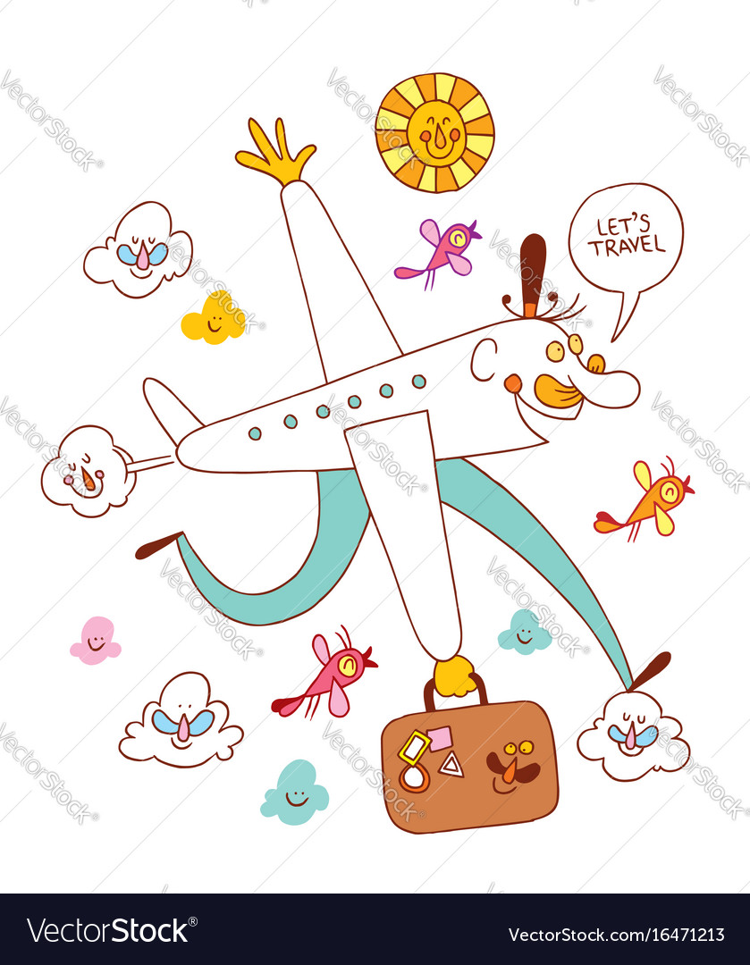 Lets Travel Fun Airplane Cartoon Vector Image