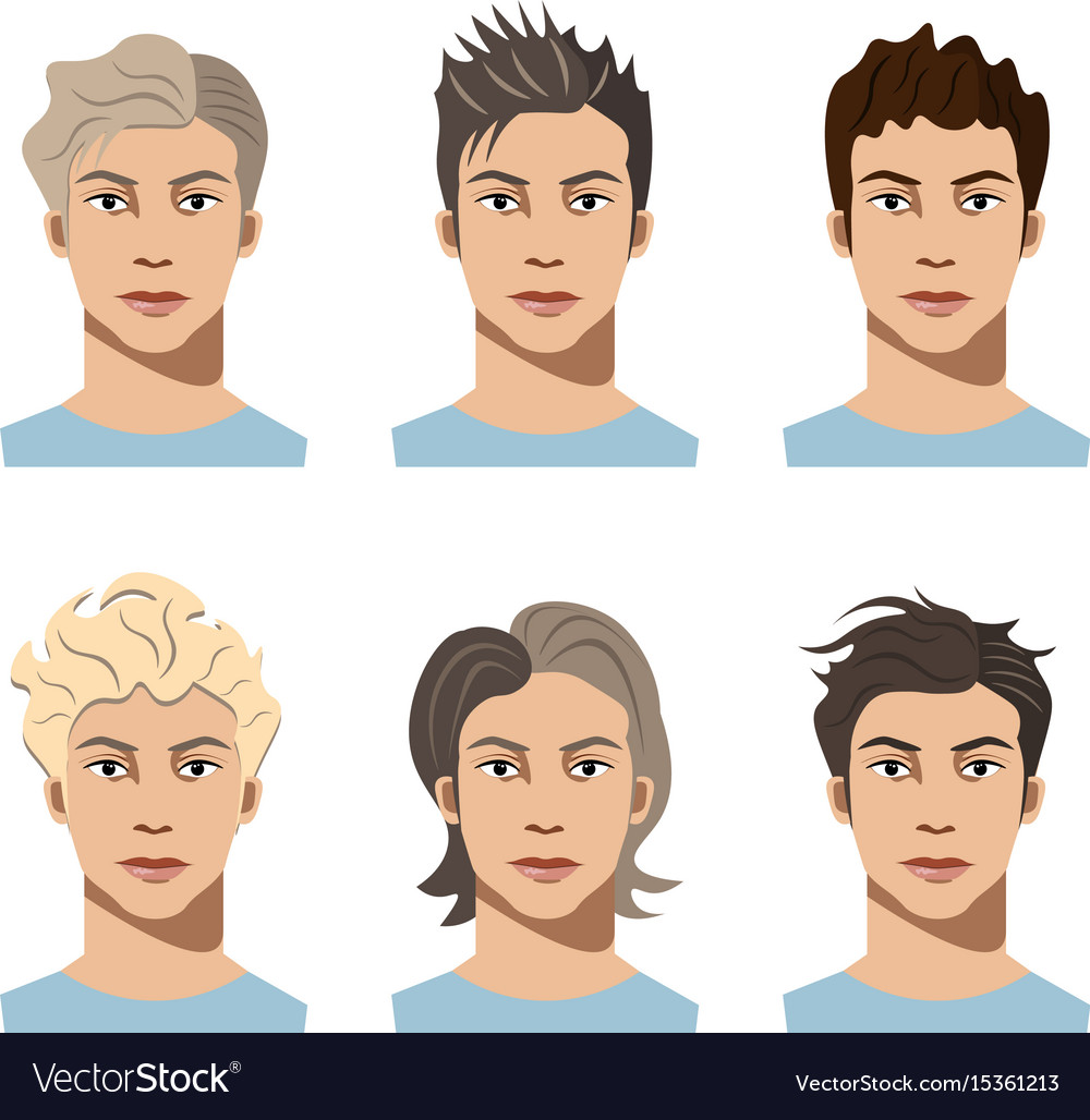 Set Different Hair Style Young Men Royalty Free Vector Image