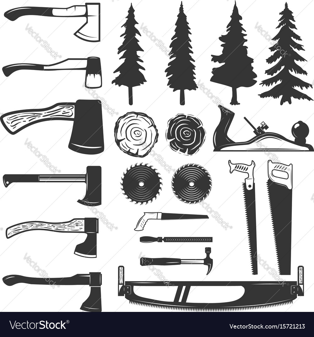 Set Of Carpenter Tools Wood And Trees Icons
