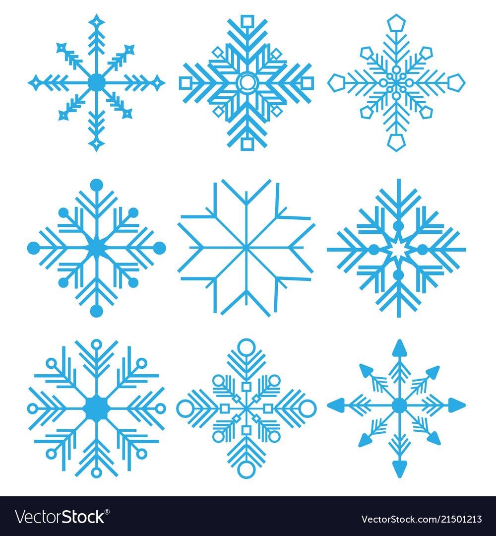 Set of nine snowflakes thin