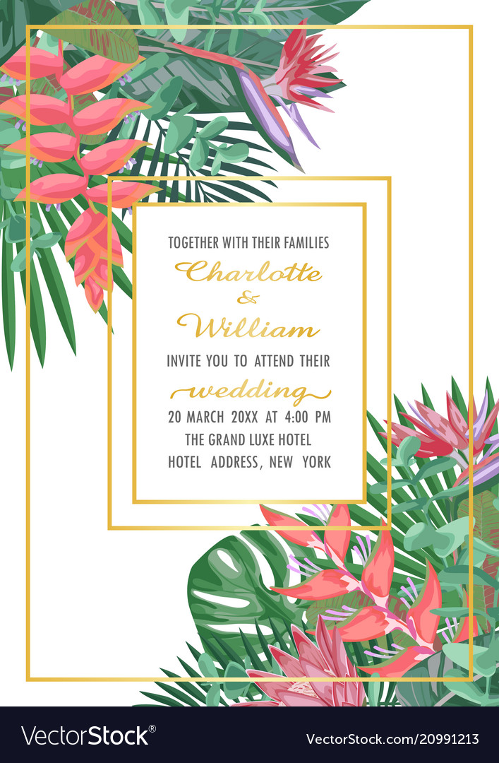 Tropical wedding invitation with gold frame