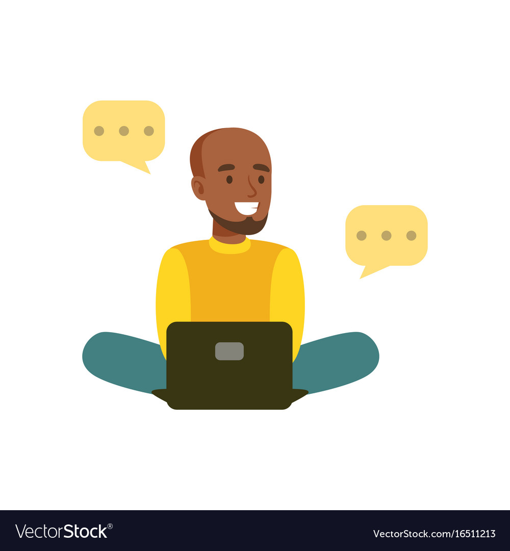 Young smiling black man sitting on the floor vector image