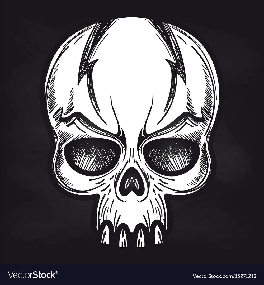 Agressive monsters skull on blackboard
