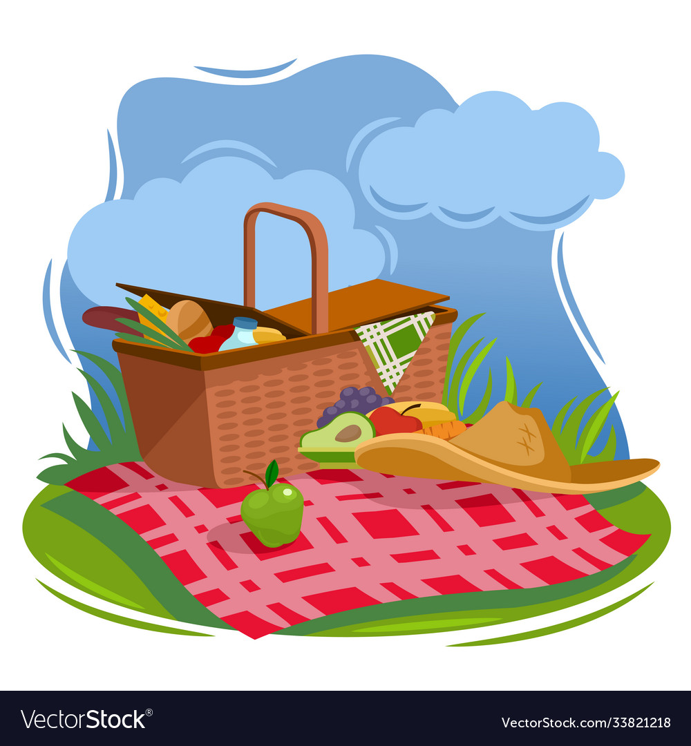 Cartoon Color Summer Picnic Basket Concept Vector Image