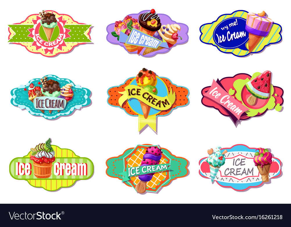 Cartoon colorful ice creams labels set vector image