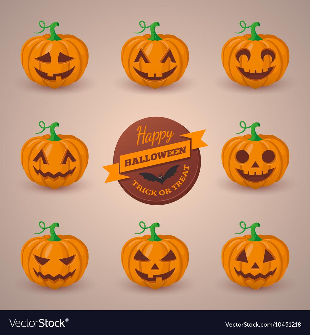 cute pumpkin faces set royalty free vector image
