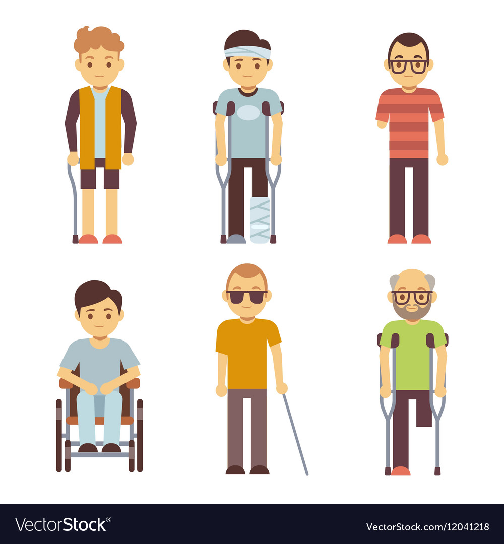 Disabled people set Old and young invalid