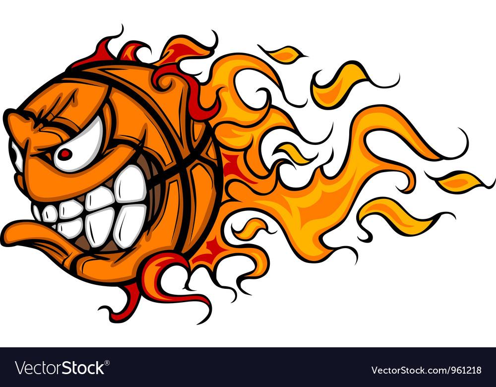 Flaming Basketball Face Cartoon vector image