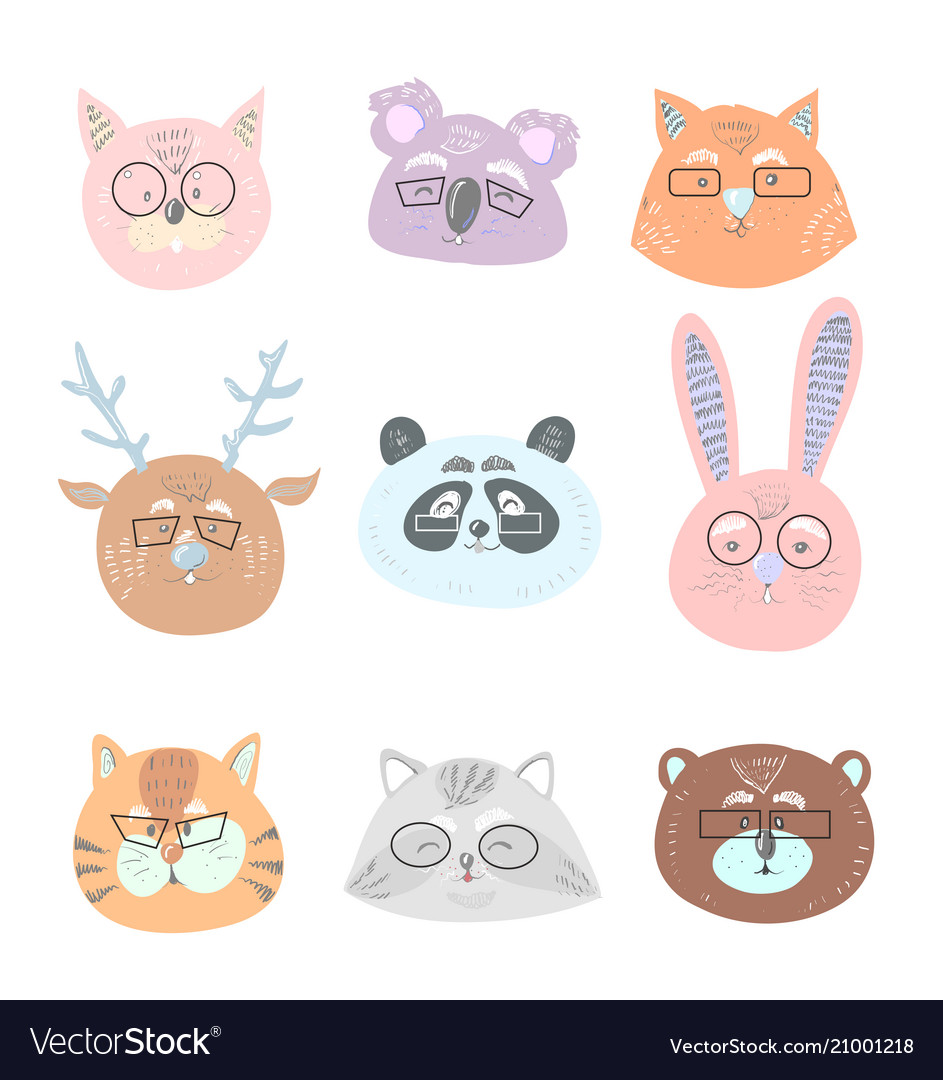 Funny Cute Animals In Glasses Face Royalty Free Vector Image,Hacks Space Saving Ideas For Small Apartments