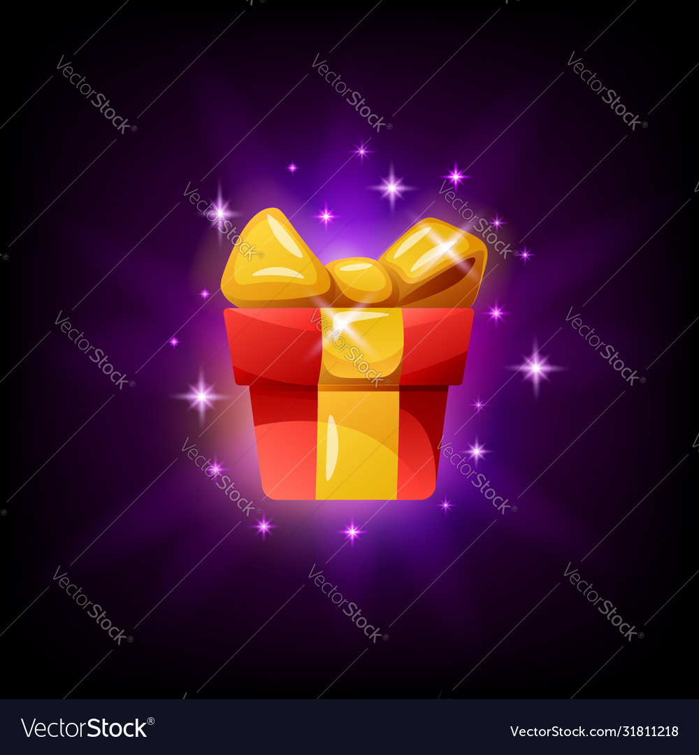 Gift box game interface icon on black background