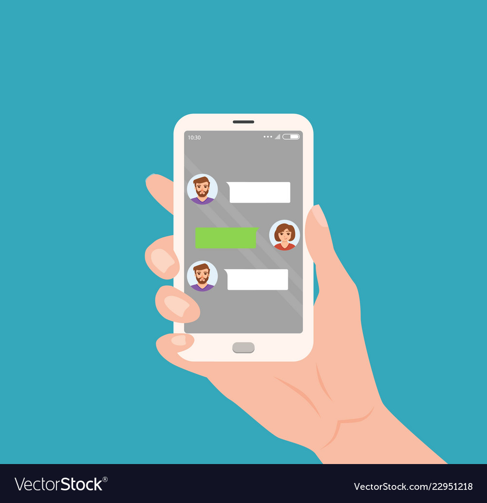 Hand holding mobile with live chat messenger app