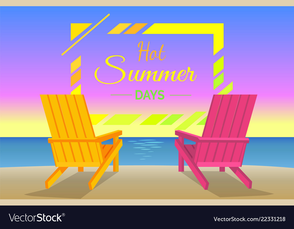 Hot summer days poster with sunbeds on beach frame