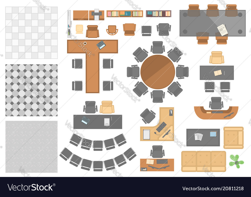 Office workplace elements - set of modern