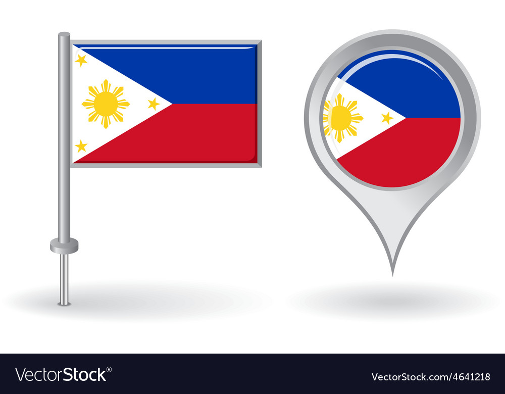 Free Maps And Flags Icons: Philippines Pin Icon And Map Pointer Flag Vector Image
