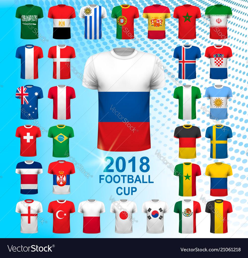 Set of football jerseys for 2018 soccer