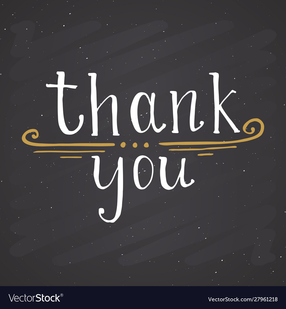 Thank you lettering quote hand drawn calligraphic