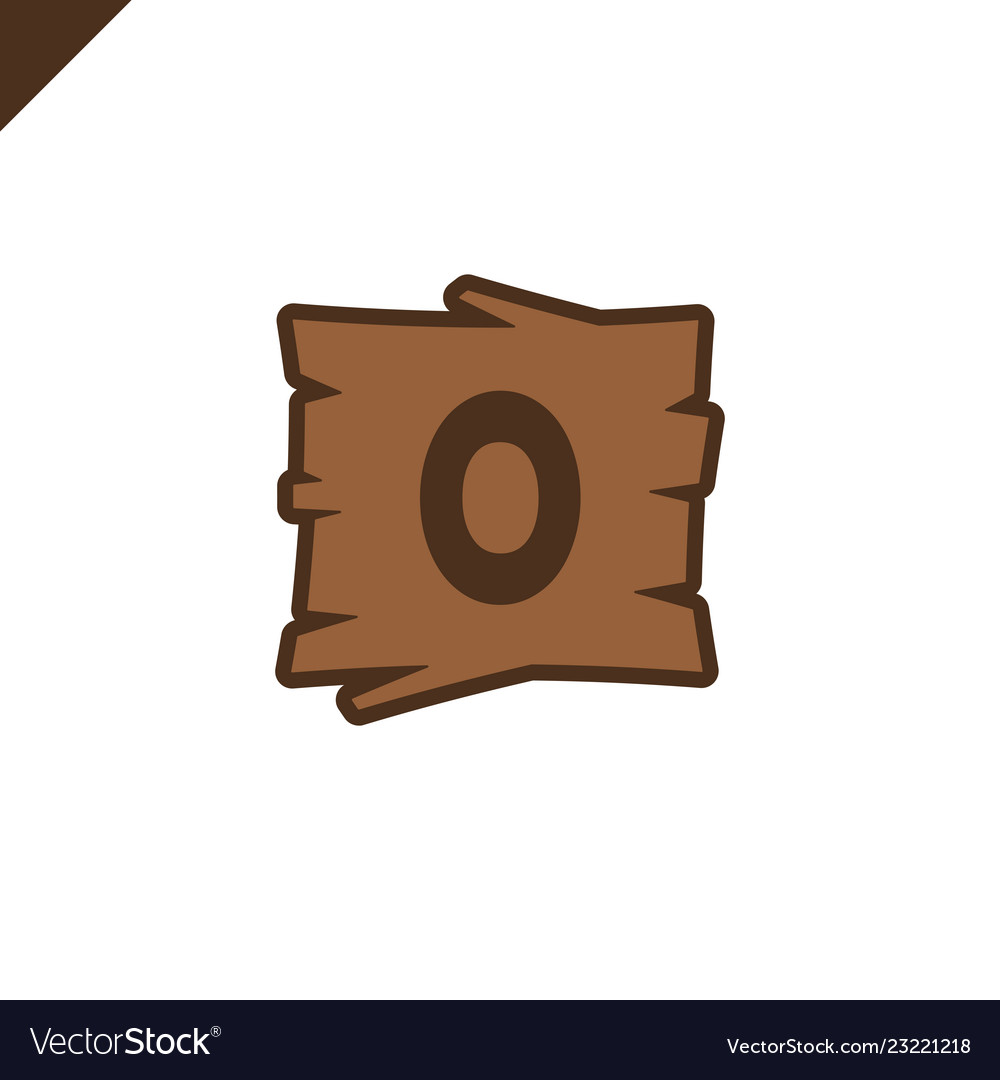 Wooden alphabet or font blocks with letter o