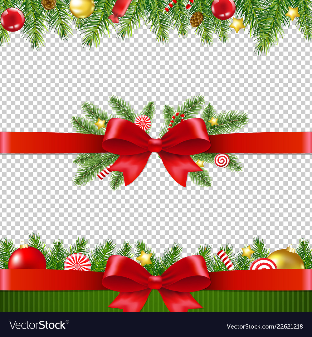 Xmas garland set transparent background