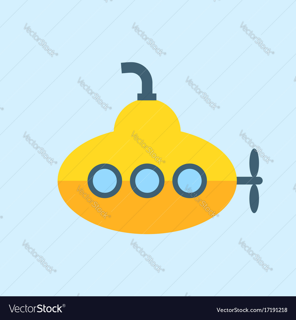 Yellow submarine with periscope flat design vector image