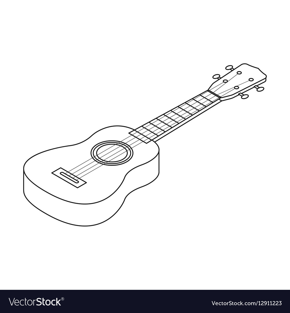 Acoustic bass guitar icon in outline style