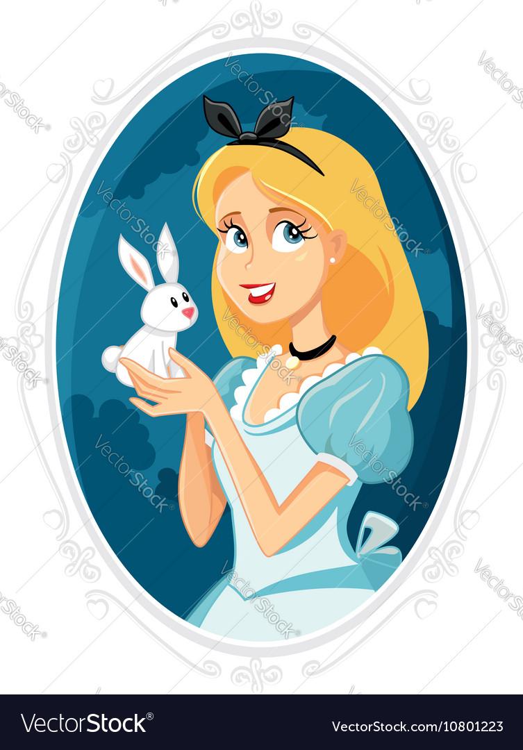 Alice in Wonderland with Little White Rabbit