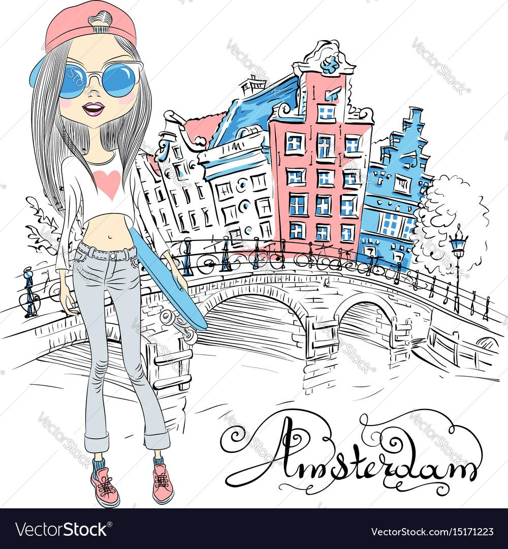 Beautiful fashion girl in amsterdam