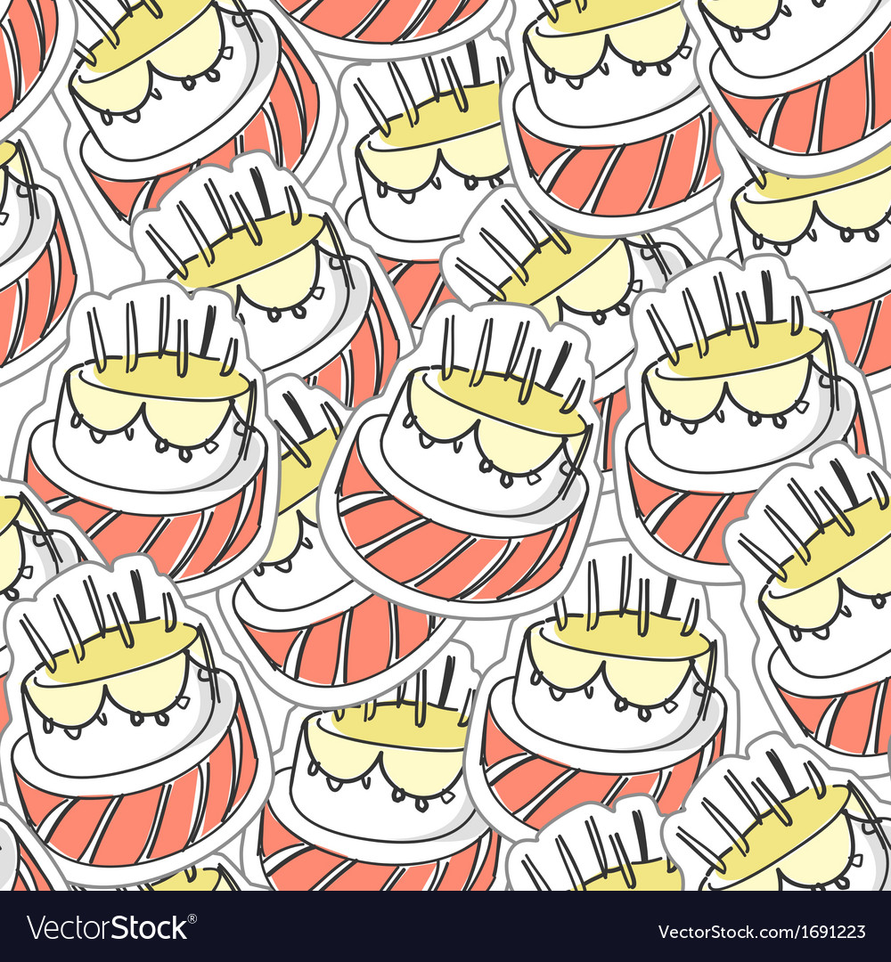 Birthdays Cake Seamles Background Vector Image