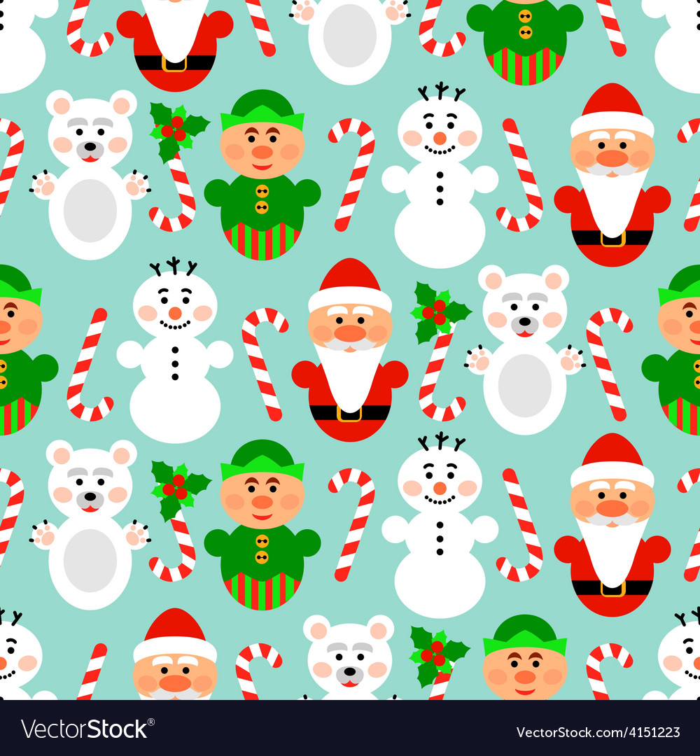 Christmas seamless pattern with characters blue