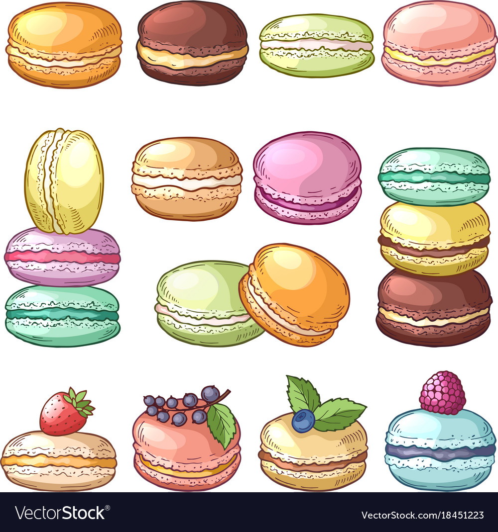 Colored of delicious macaroons