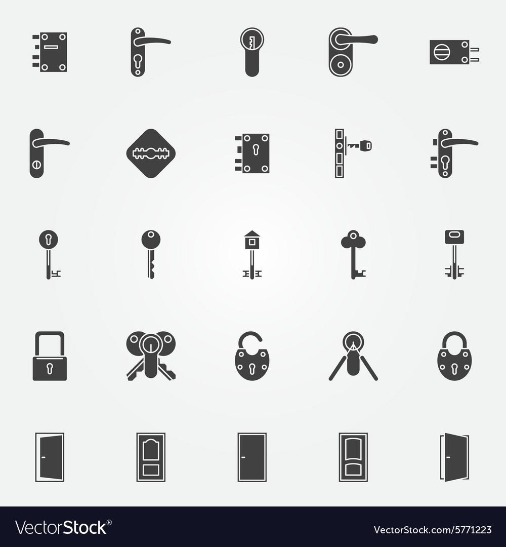 Door lock icons set