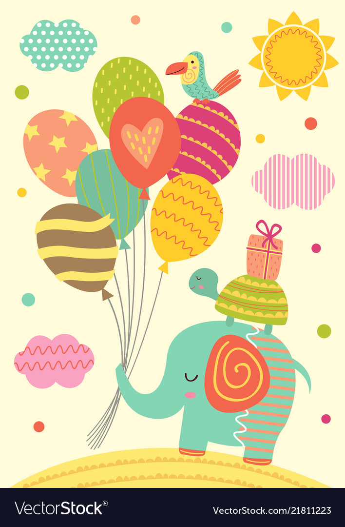 Elephant turtle and parrot with balloons