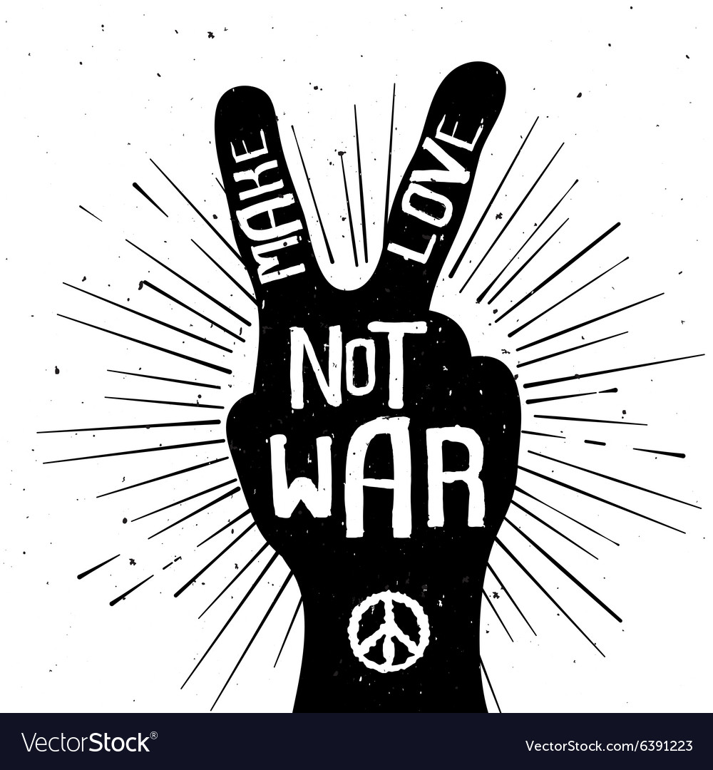 Grunge distressed peace sign silhouette vector image