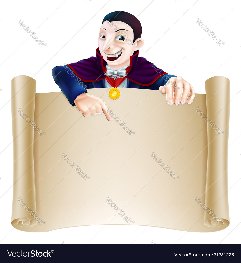 Halloween dracula scroll