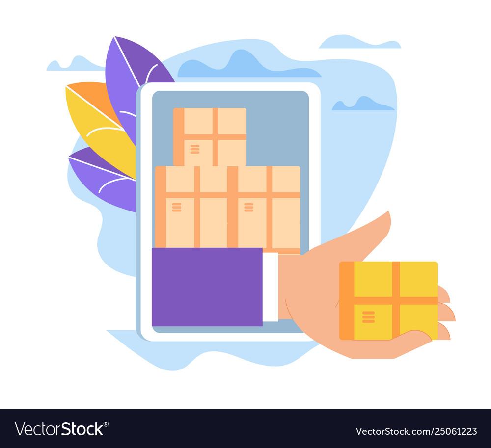 Hand giving box through smartphone screen sales