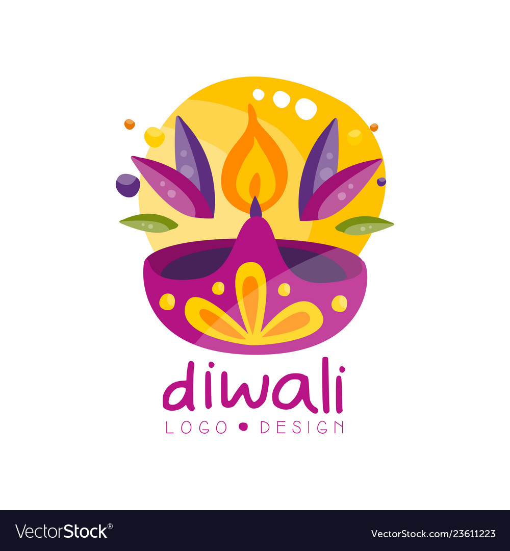 Happy diwali logo design festival of lights label