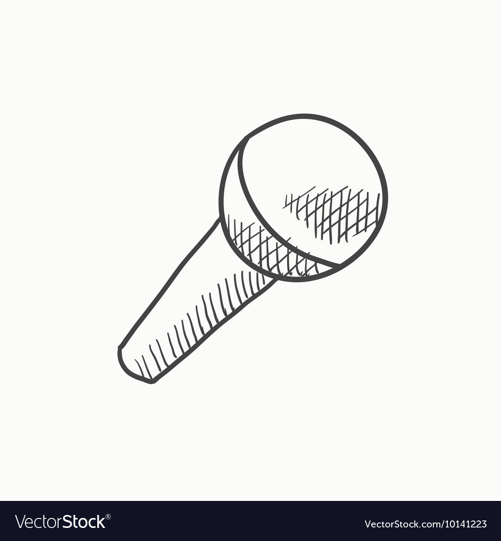 Microphone Sketch Icon Royalty Free Vector Image Draw another straight line extending from the head of the microphone. vectorstock
